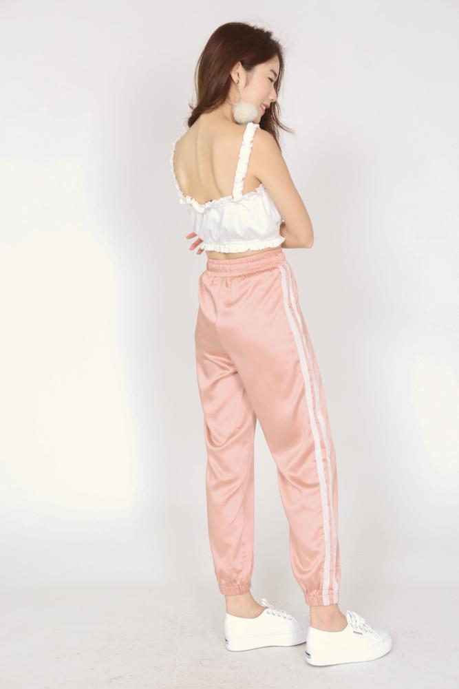 Satin Drawstring Joggers in Dusty Pink