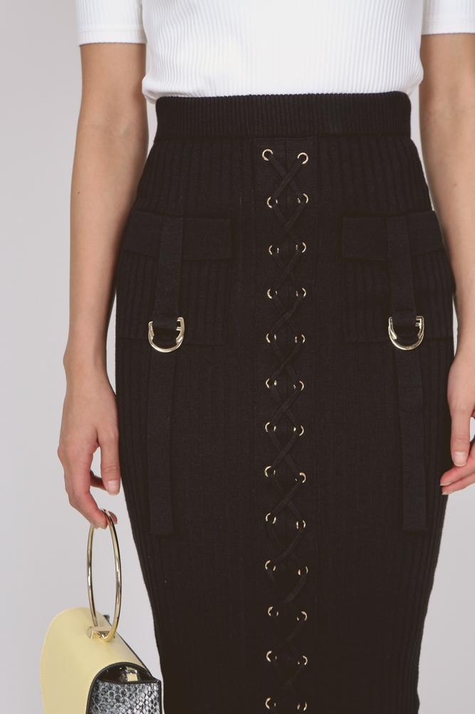 Lace-Up Bodycon Bandage Skirt in Black