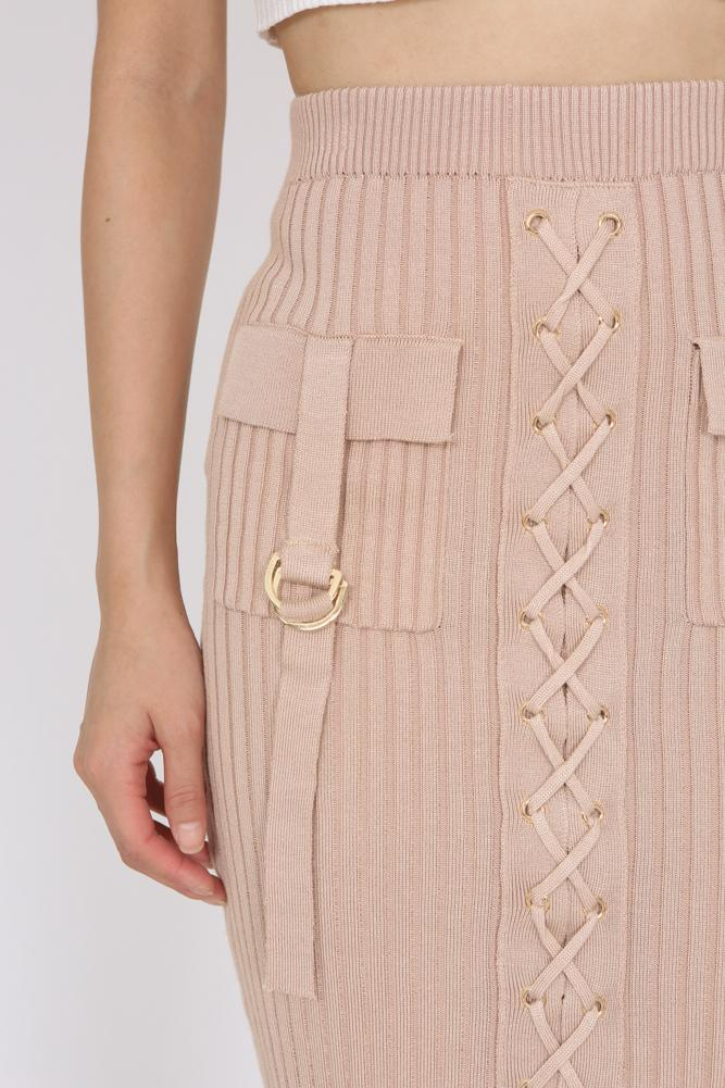 Lace-Up Bodycon Bandage Skirt in Nude