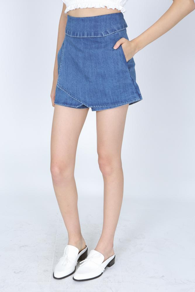 Wrapped Asymmetric Denim Skorts