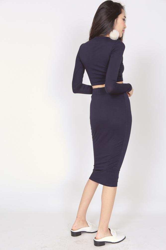Bandage Bodycon Skirt in Midnight