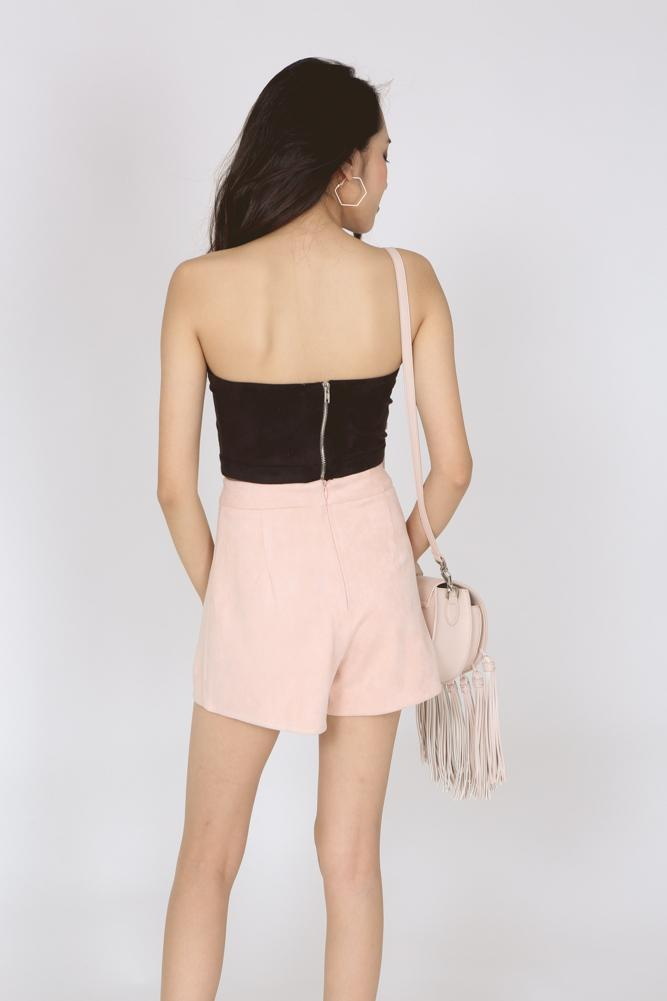 Suede Wrap Mini Skorts in Pink