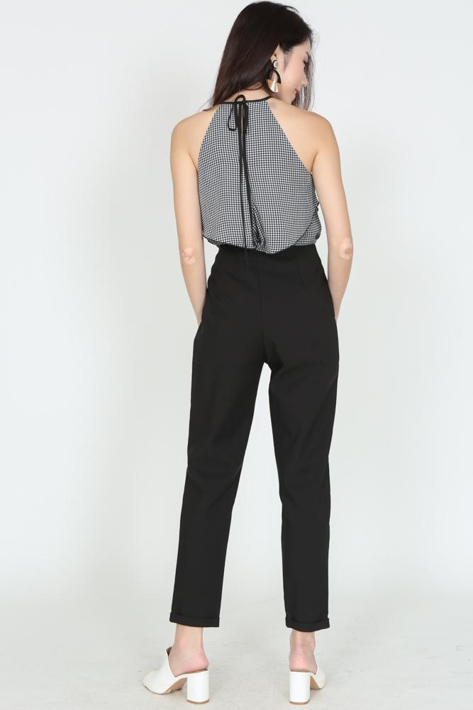 High-Waisted Tapered Trousers in Black