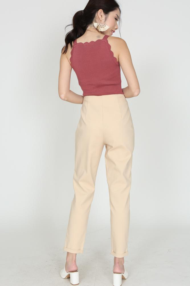 High-Waisted Tapered Trousers in Khaki
