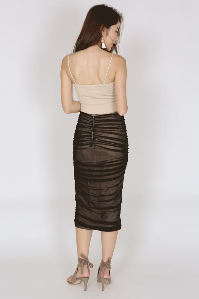 Ruched Pencil Skirt in Black
