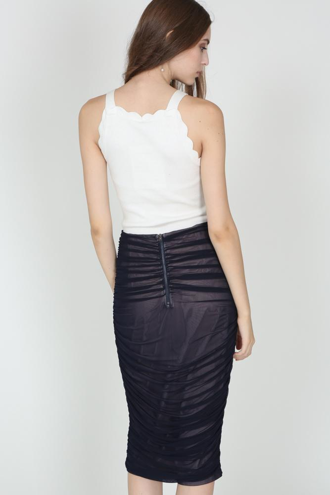 Ruched Pencil Skirt in Midnight