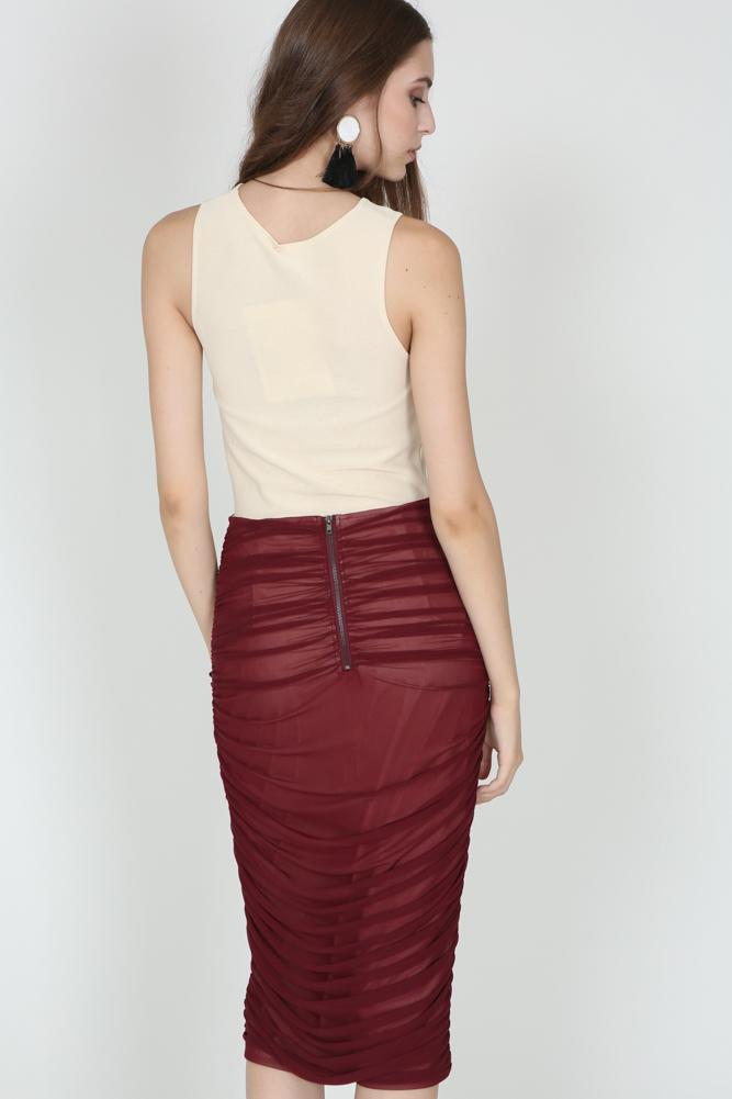 Ruched Pencil Skirt in Oxblood
