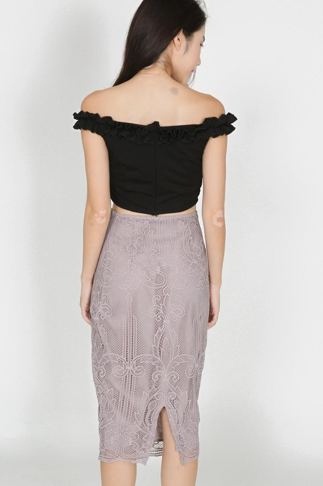 Lace Pencil Skirt in Taupe