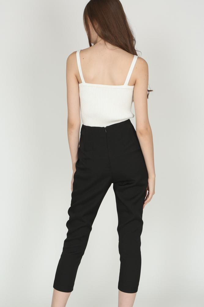 Waisted Cropped Pants in Black