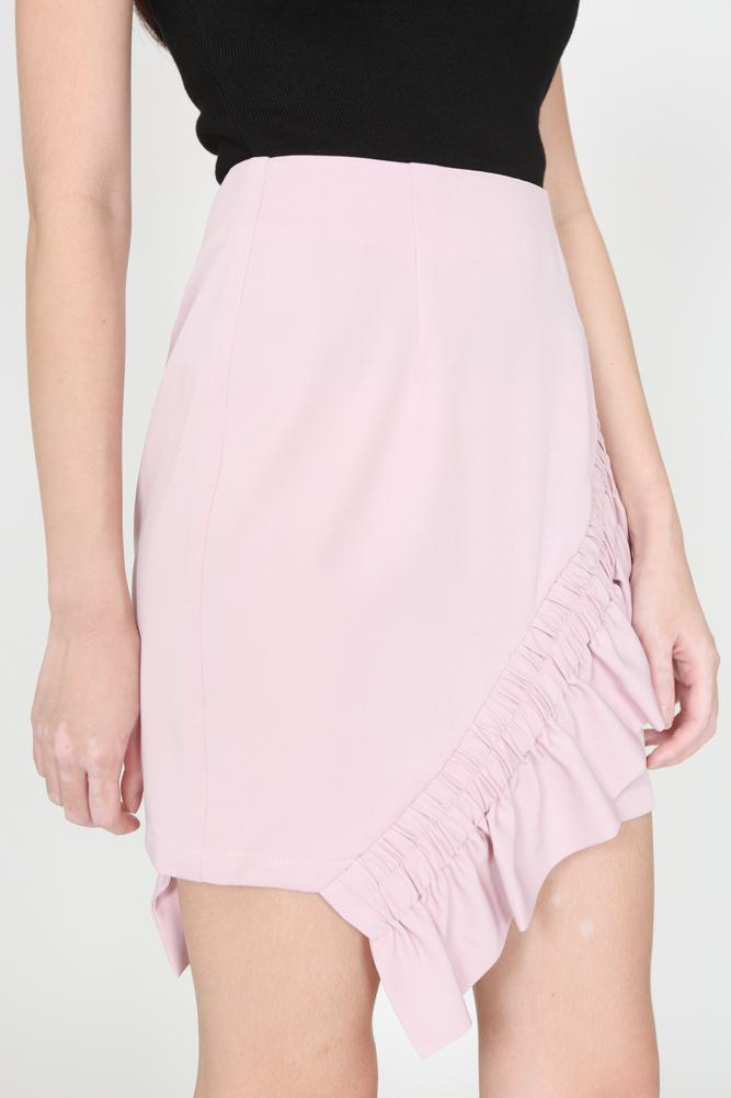 Asymmetric Smocked Ruffles Skirt in Pink