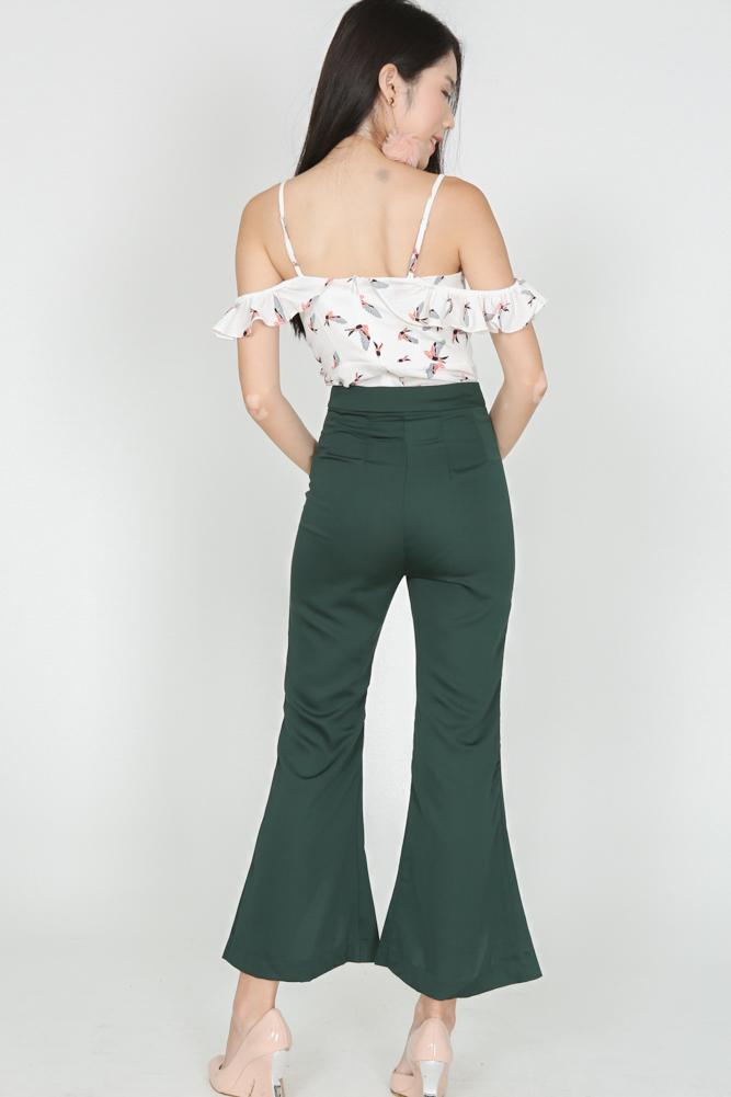 Flare Cut-Out Pants in Forest Green