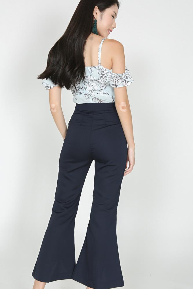 Flare Cut-Out Pants in Midnight