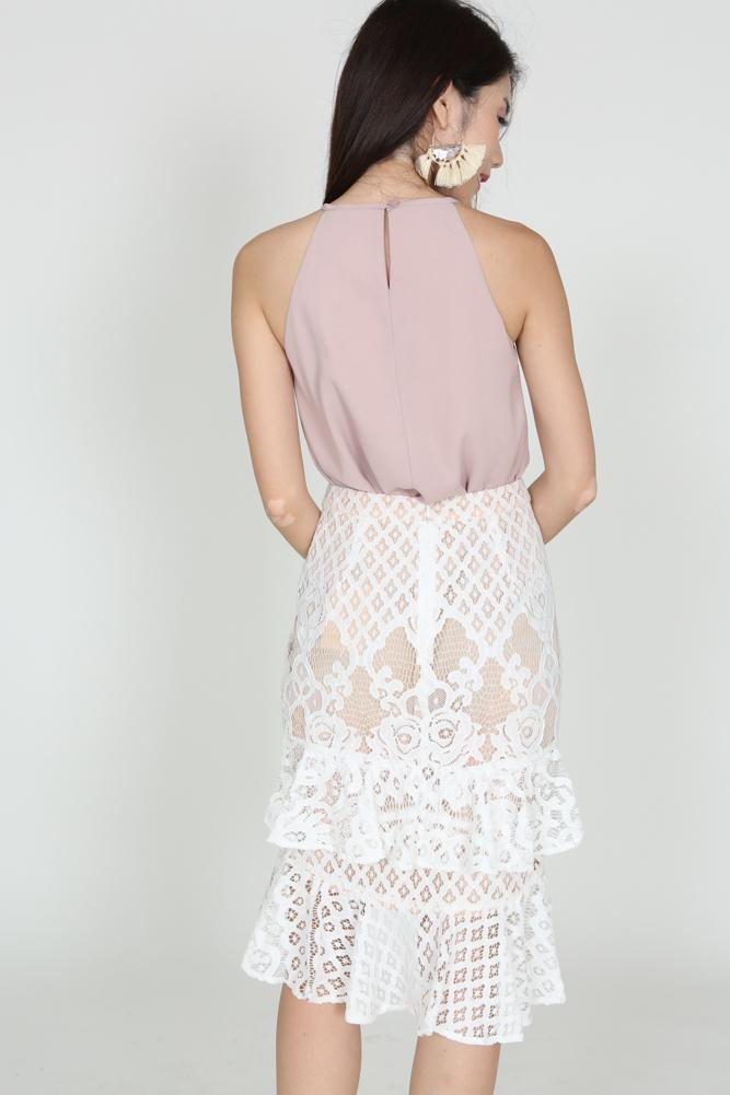 Lace Ruffle Skirt in Off White - Arriving Soon