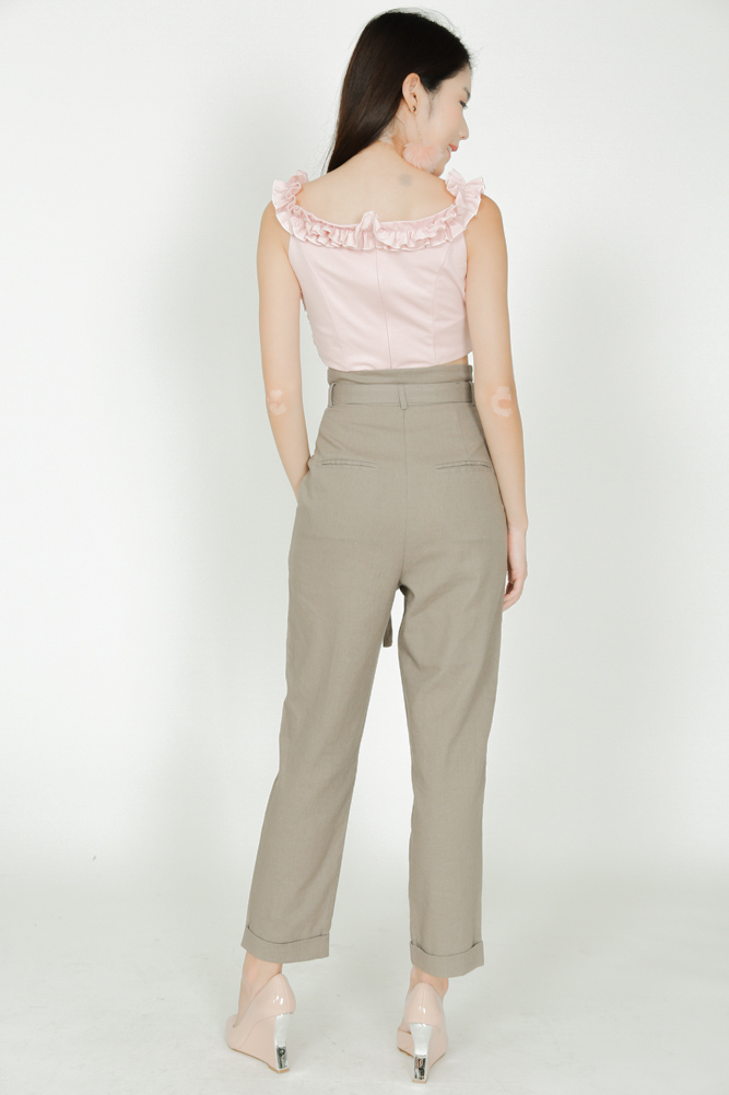 Self-Tie Pants in Taupe