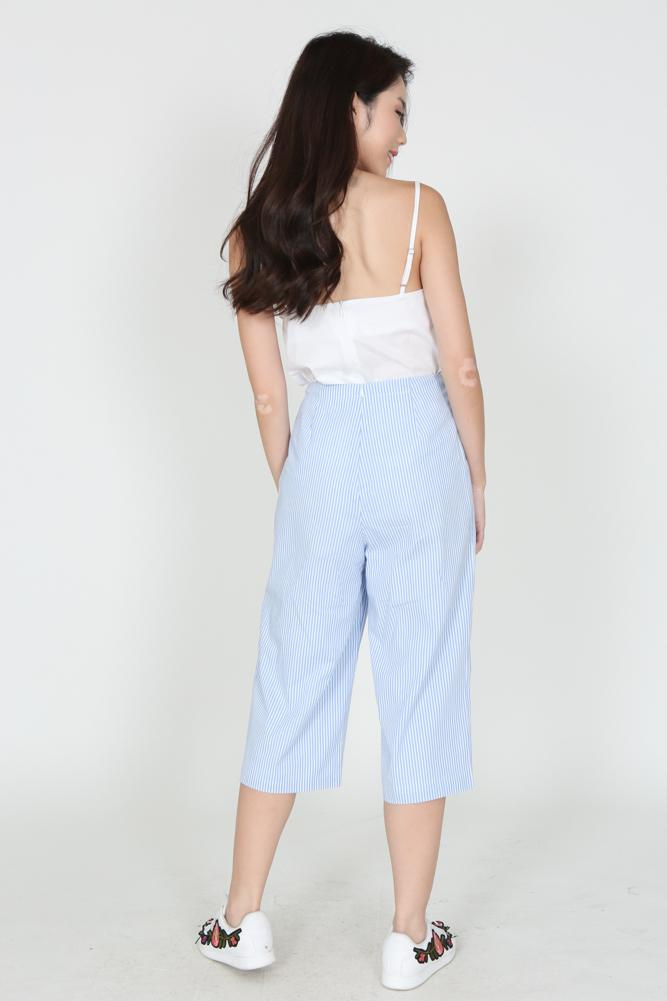 Cropped Trousers in Blue Pinstripes