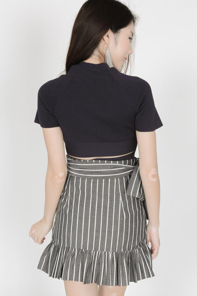 Wrapped Tie Ruffles Skirt in Black Pinstripes