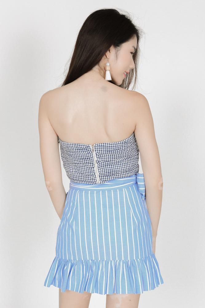 Wrapped Tie Ruffles Skirt in Light Blue Pinstripes