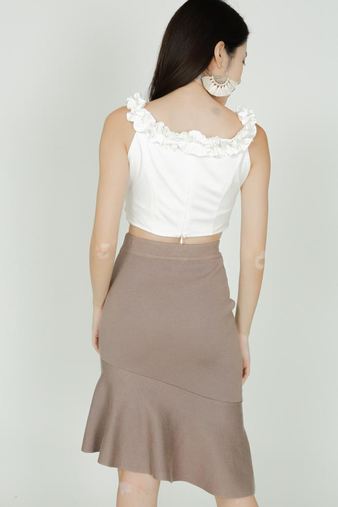 Asymmetric Bandage Skirt in Taupe