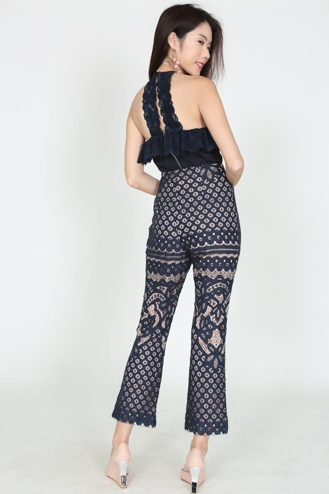 Lace Flare Pants in Midnight - Arriving Soon