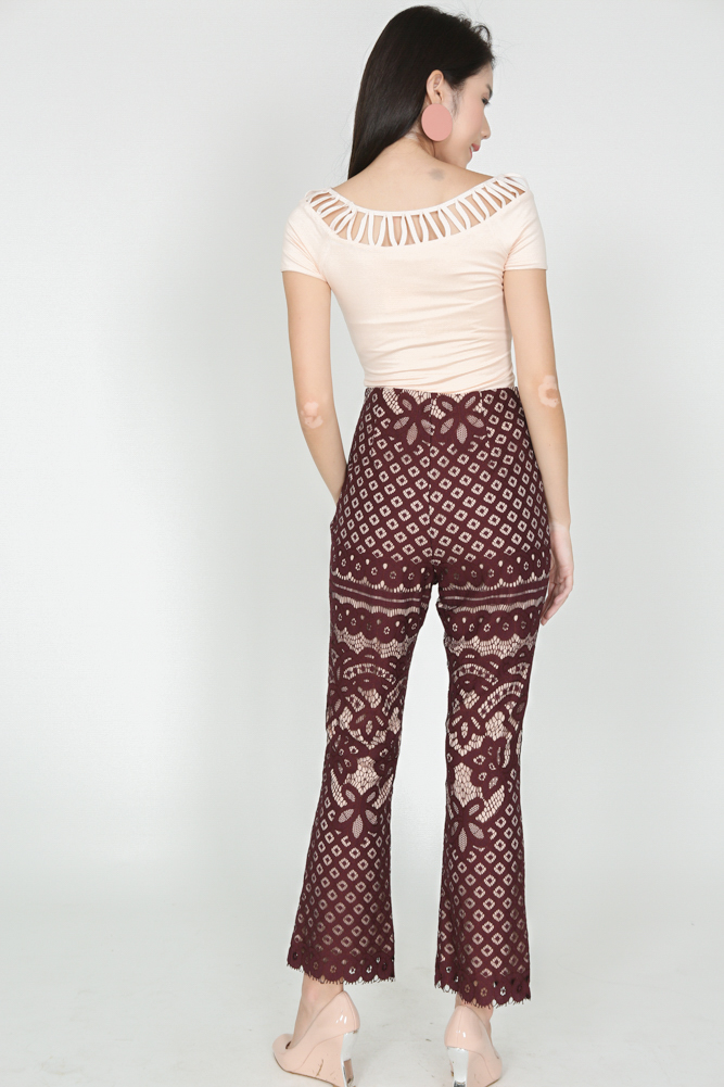 Lace Flare Pants in Oxblood