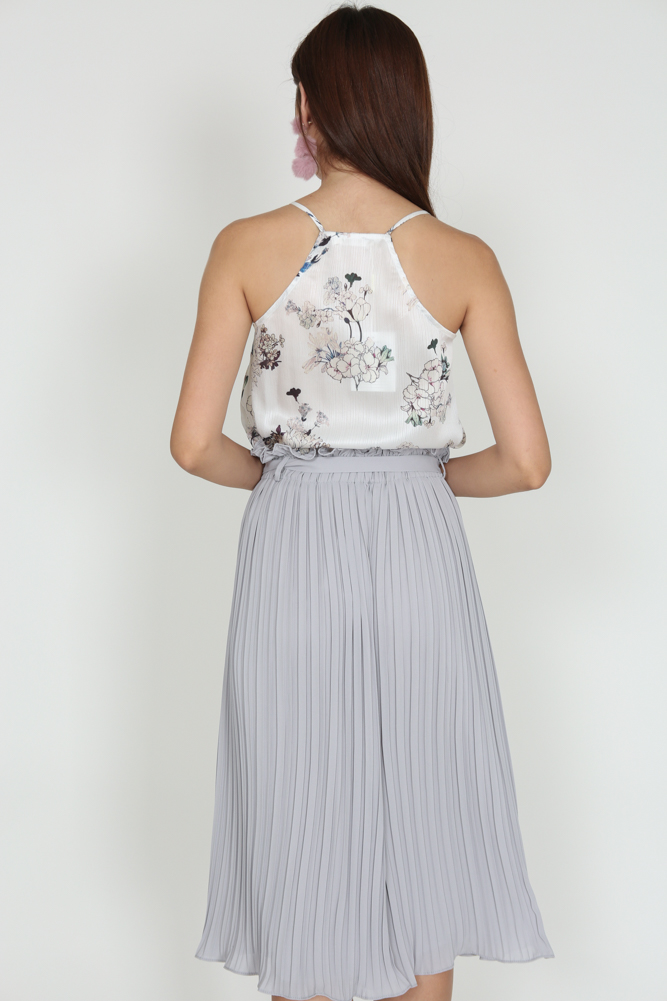 Pleated Ruffled Culottes in Grey