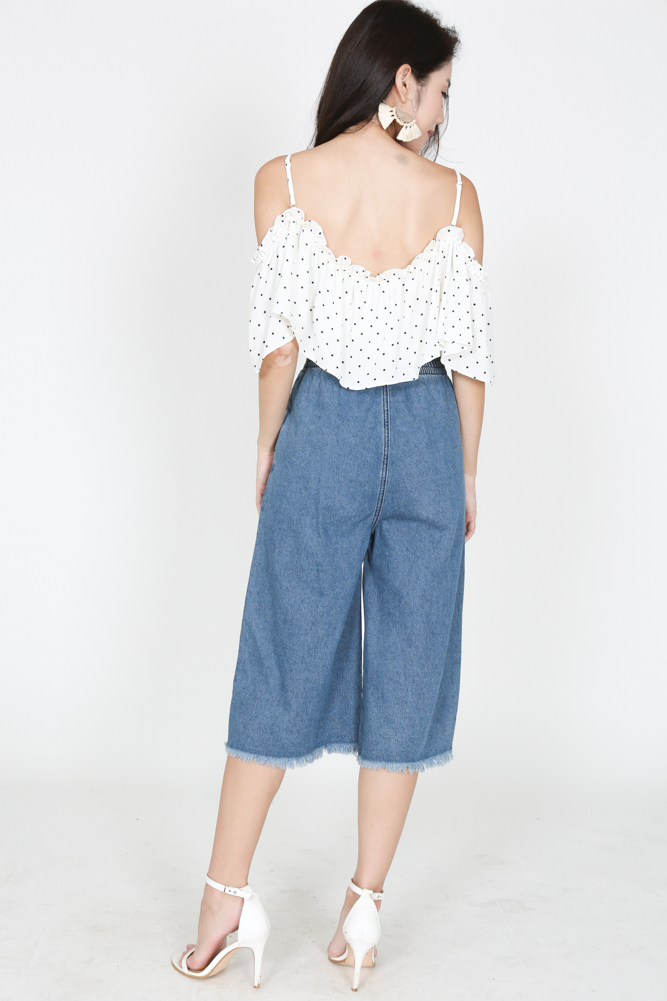 Frayed Denim Culottes in Blue