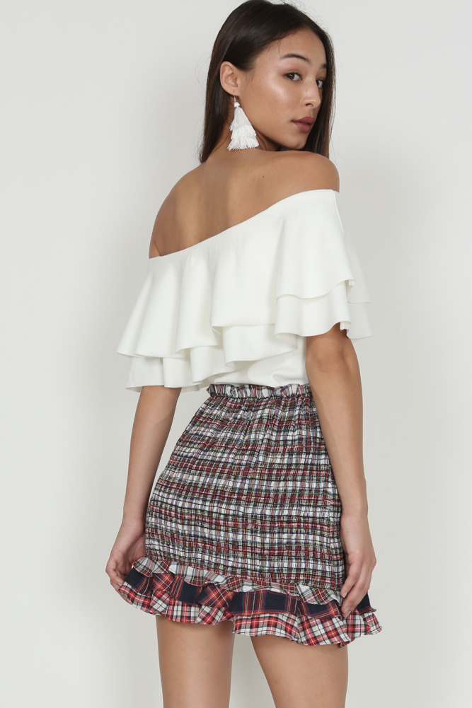 Smocked Ruffle Skirt in Tartan Print