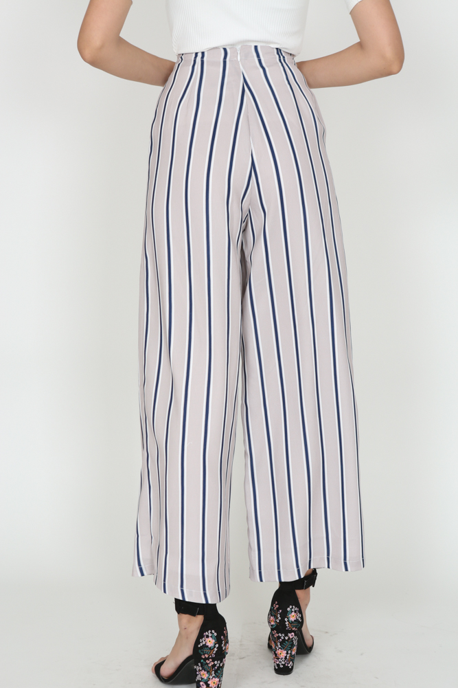 Striped Culottes in Taupe