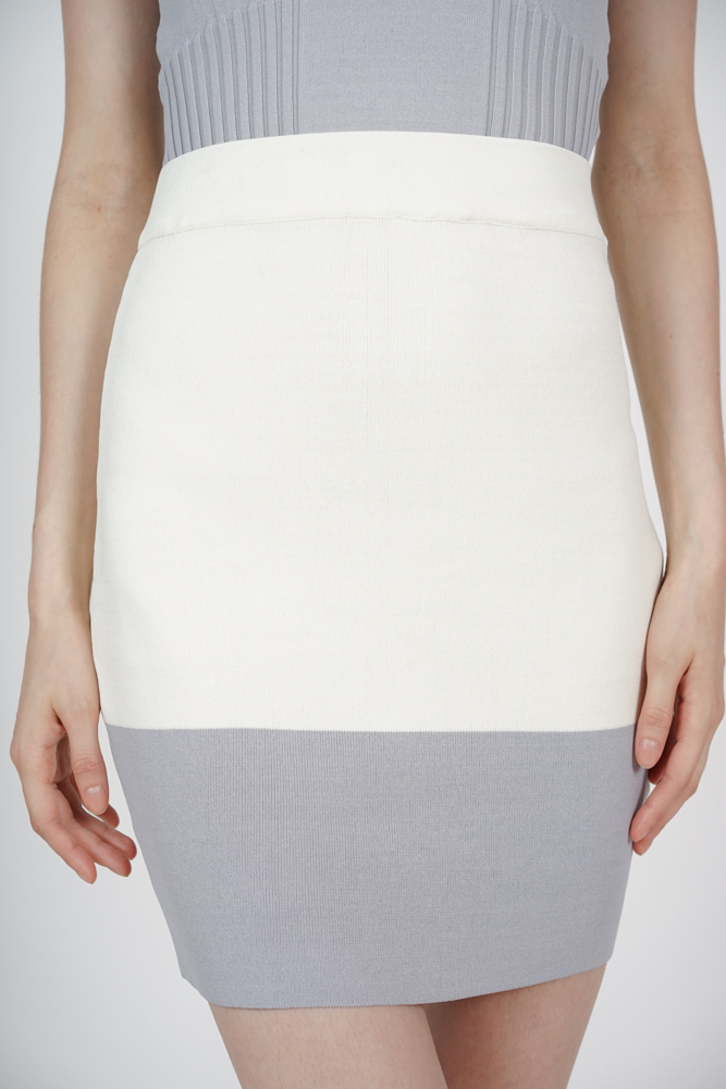 Contrast Bandage Skirt in Ivory Grey - Arriving Soon