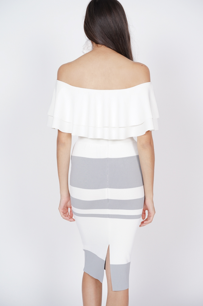 Contrast Line Skirt in White Grey