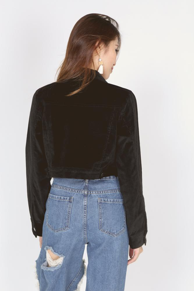 Corduroy Buttoned Jacket in Black