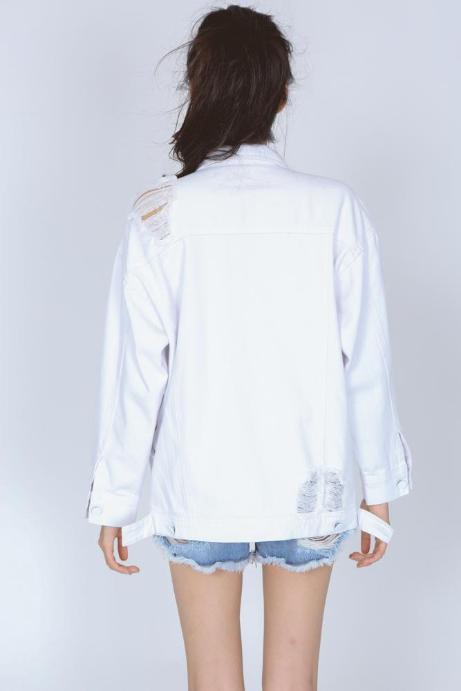Buttoned Denim Jacket in White