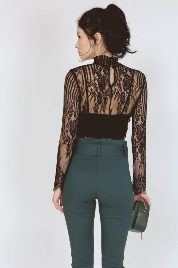 Contemporary Sheer Lace Top in Black