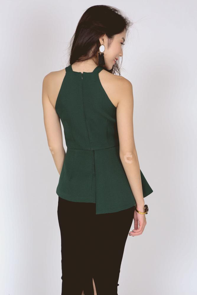 Asymmetrical Halter Top in Forest Green