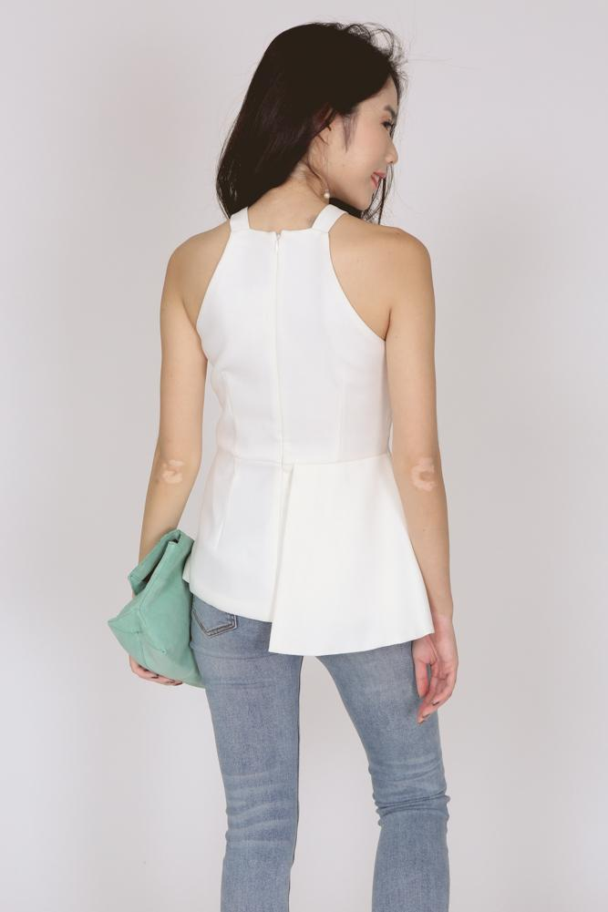 Asymmetrical Halter Top in Ivory