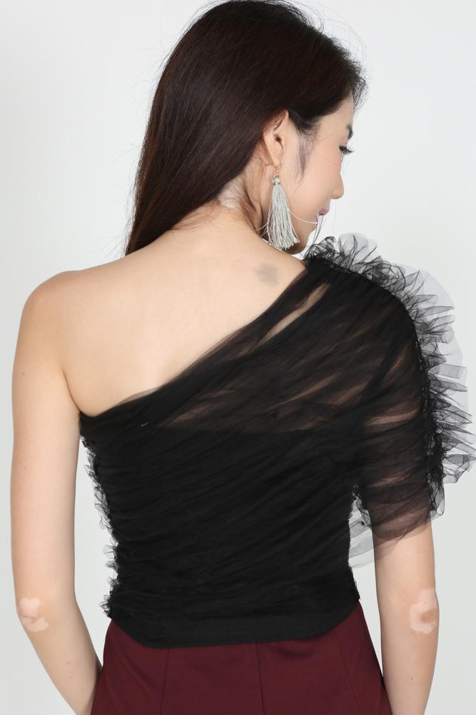 Tulle Toga Top in Black