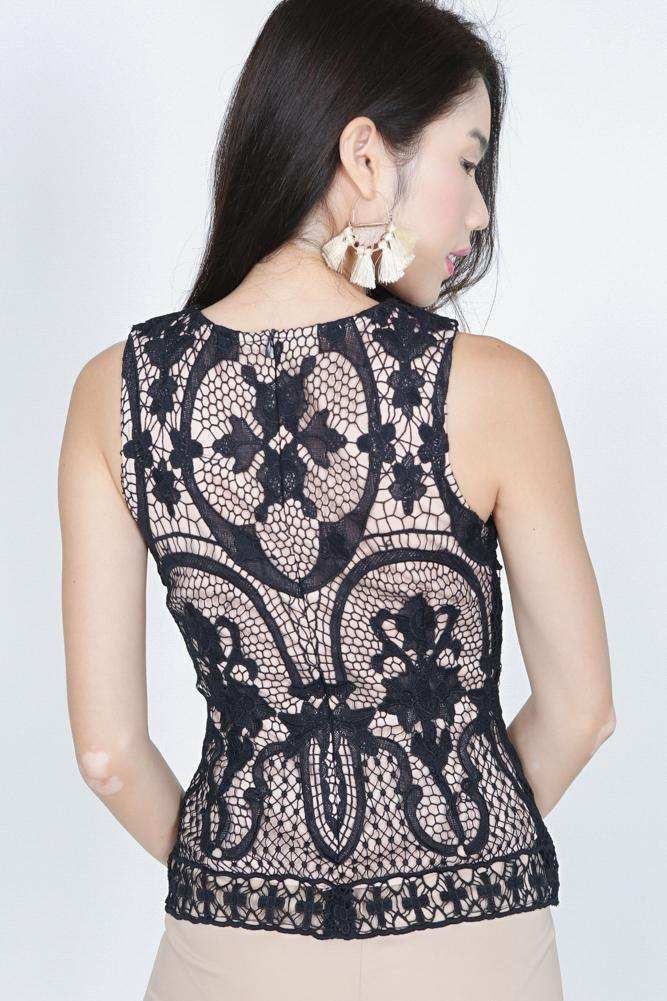 Sleeveless Lace Top in Midnight