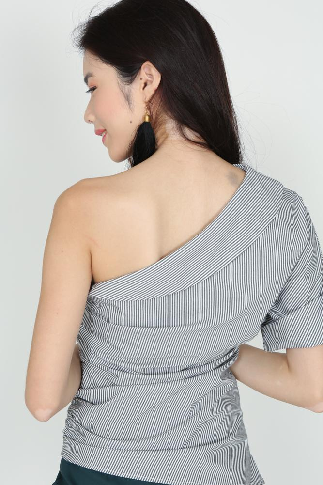 Pinstripes Toga Top in Grey