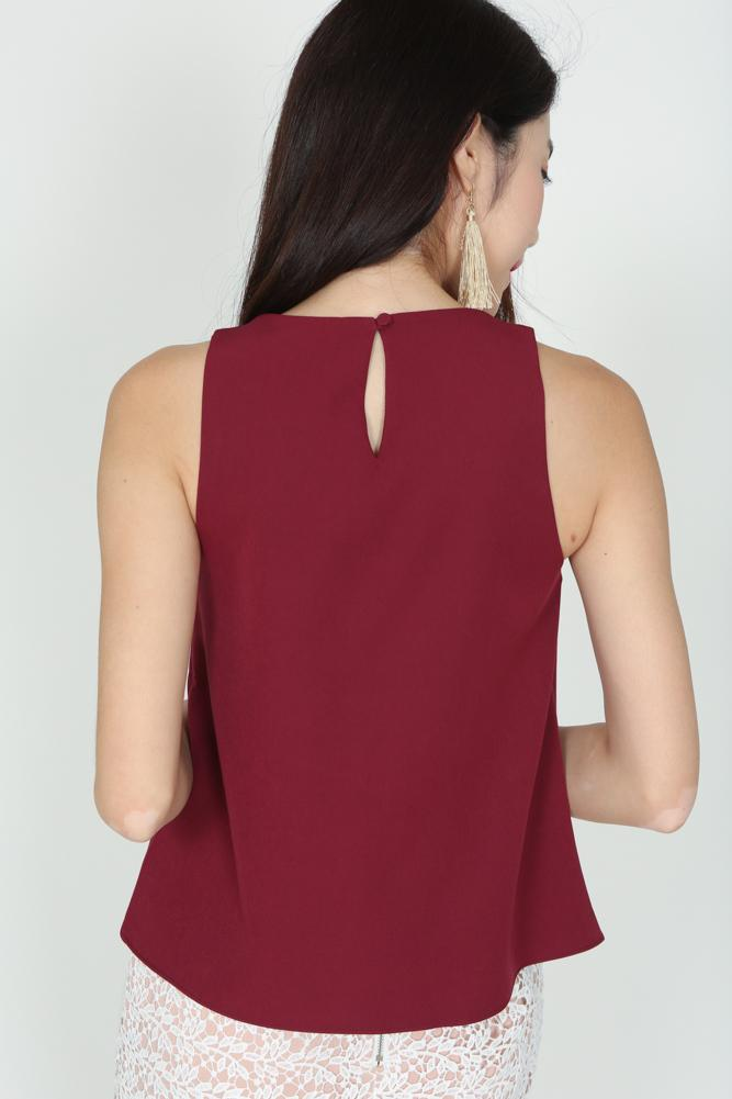 Asymmetric Ruffled Top in Oxblood