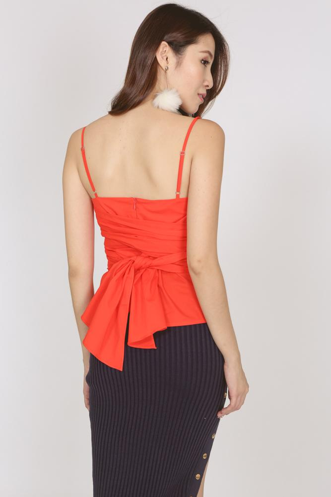 Self-Tie Waist Cami in Orange Red