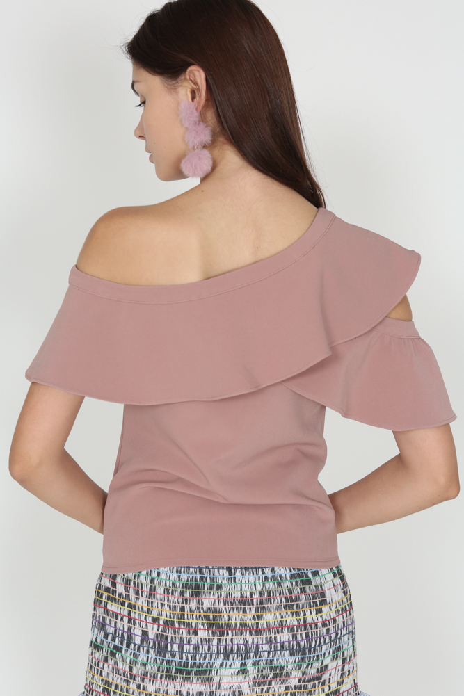 Ruffled Toga Top in Dusty Pink