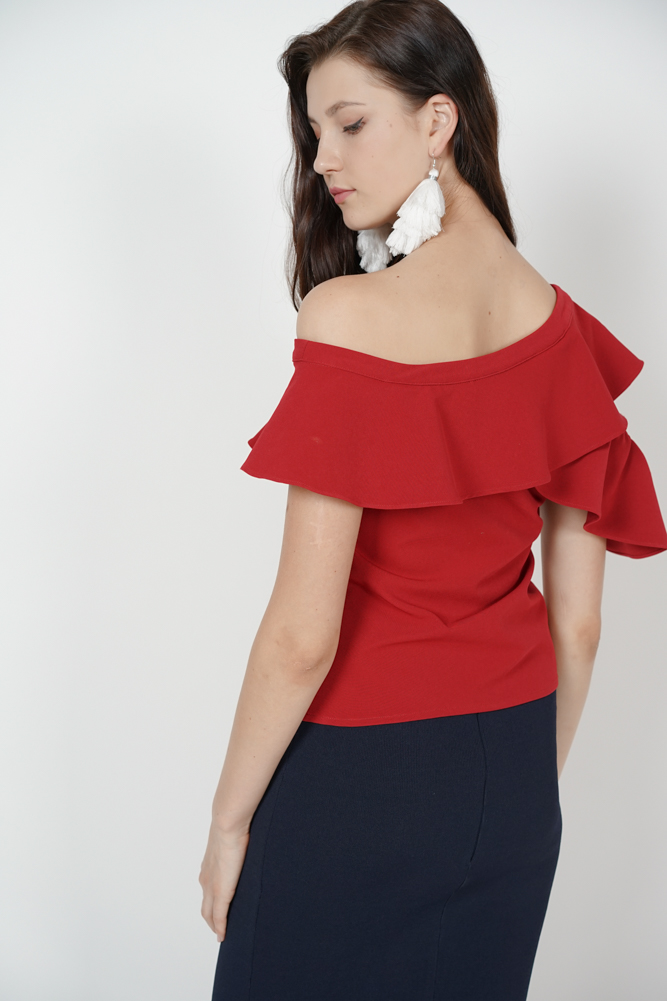 Ruffled Toga Top in Red