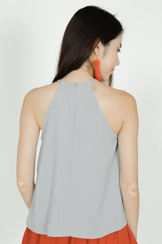 Embroidered Halter Top in Light Grey