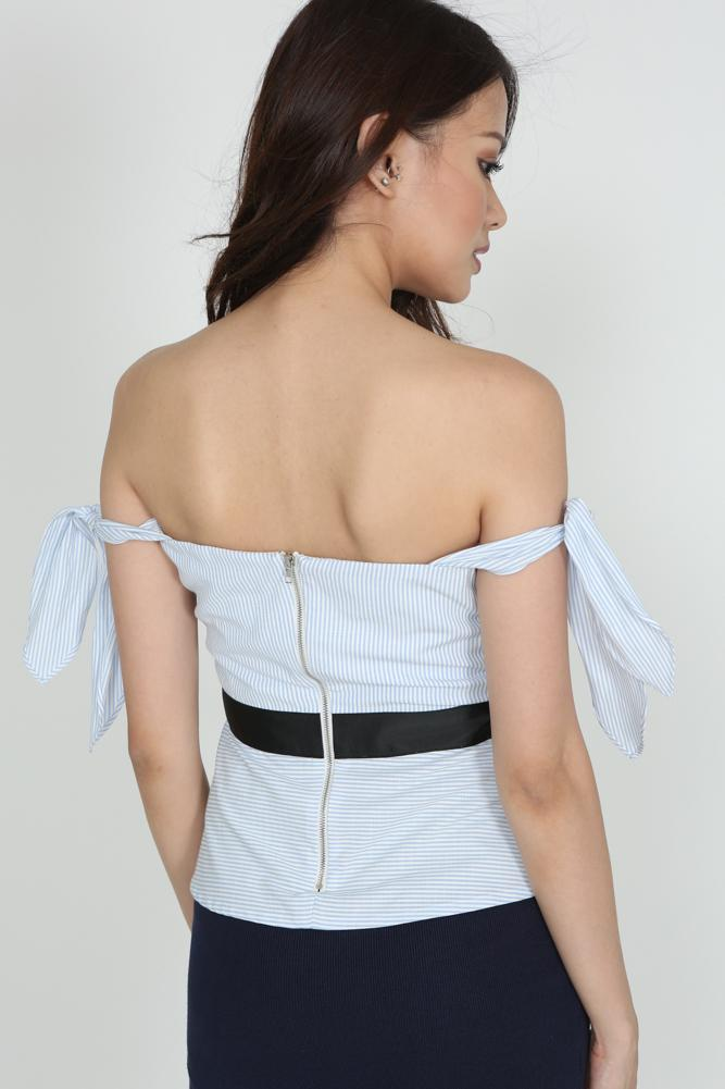 Pleated Pinstripe Top in Light Blue
