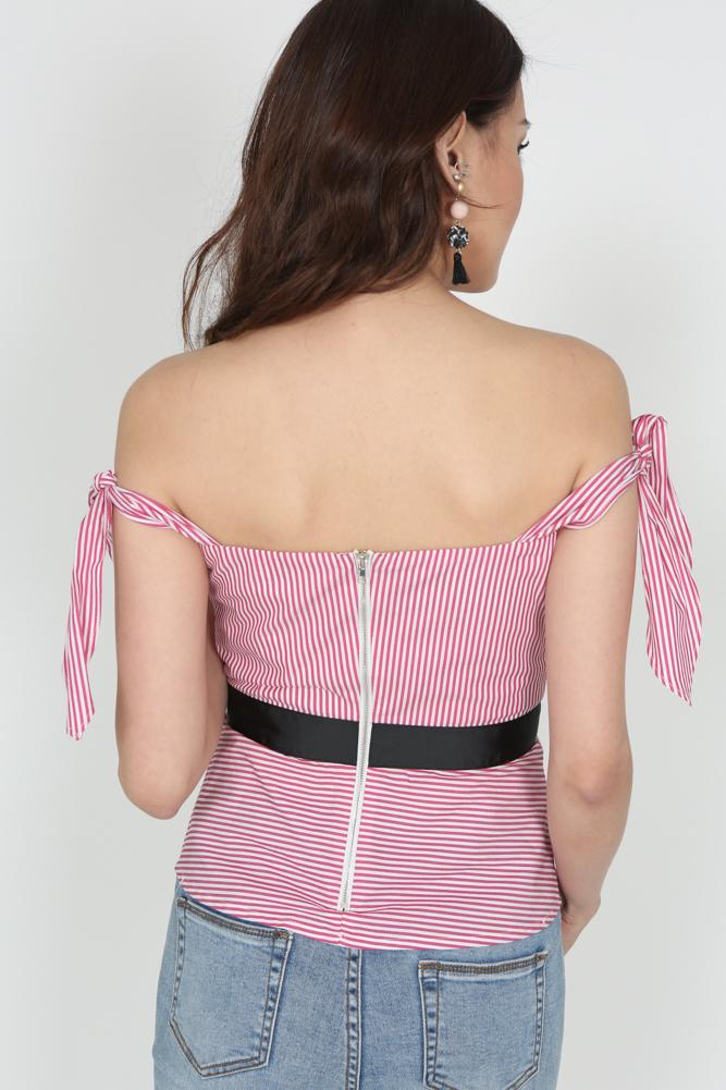 Pleated Pinstripe Top in Red - Arriving Soon
