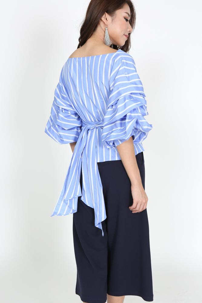 Puffed Sleeves Top in Blue Stripes