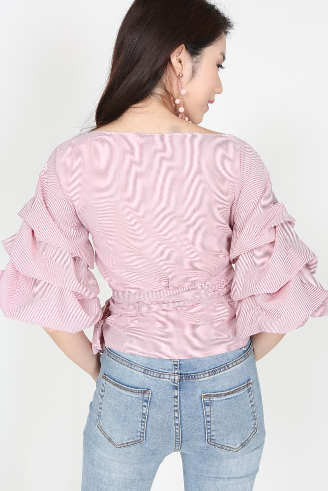 Ruffled Sleeve Top in Red Pinstripes