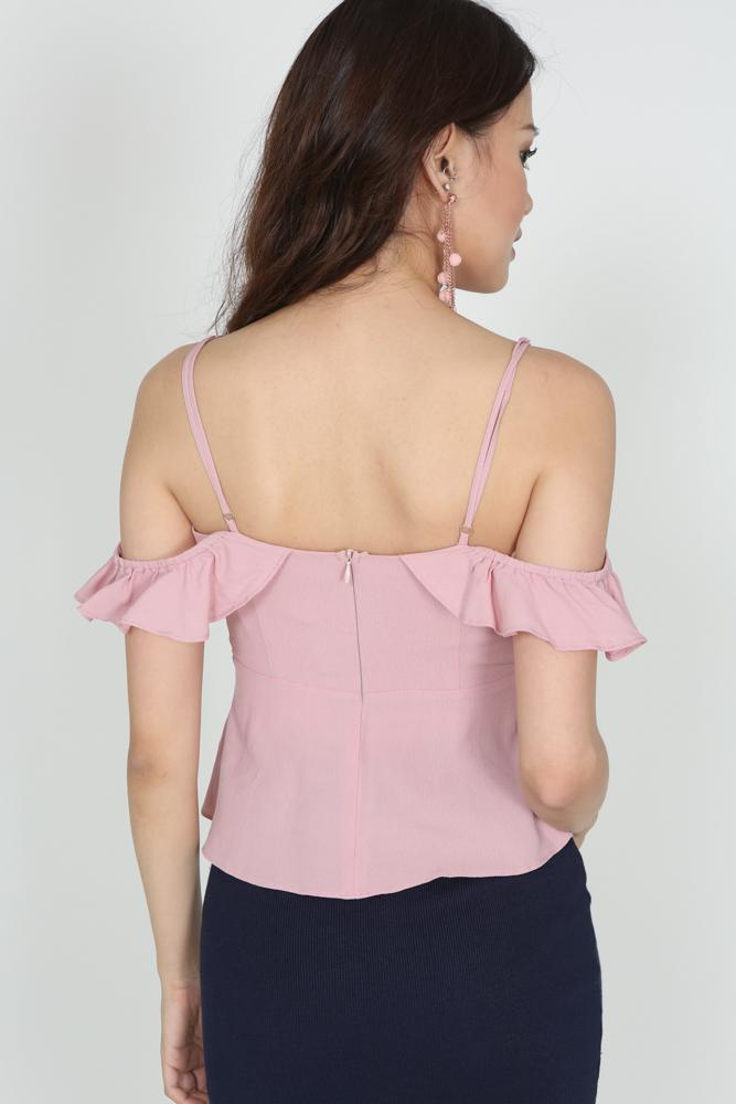 Wrapped Frill Cami in Dusty Pink