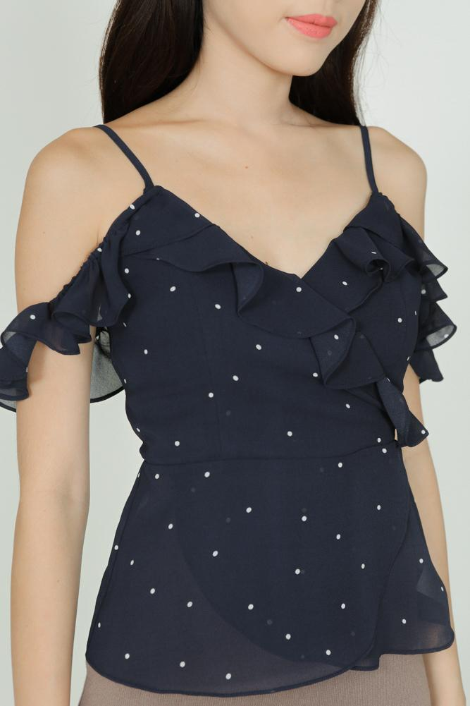 Wrapped Frill Cami in Navy Polka Dots