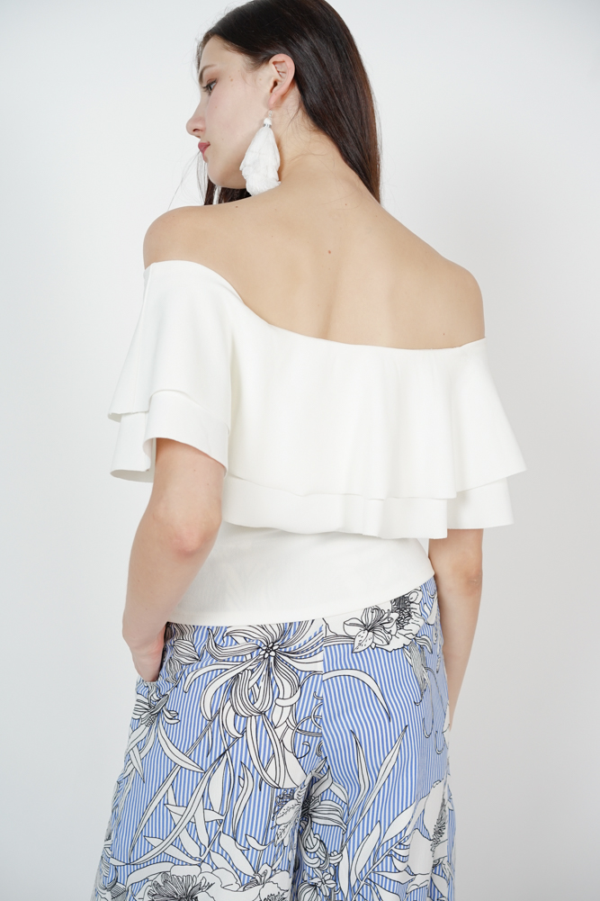 Flounce Layer Top in Off White - Arriving Soon